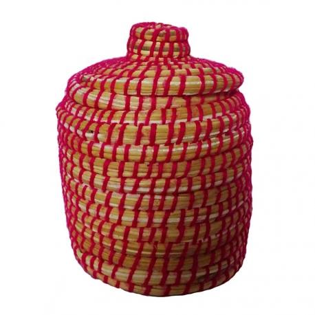 Corbeille en palmier et tissage Berbère